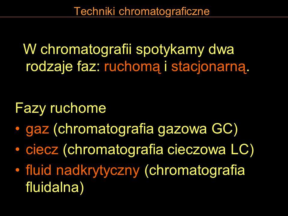 Techniki chromatograficzne W chromatografii spotykamy dwa rodzaje faz: ruchomą i stacjonarną. Fazy ruchome gaz (chromatografia gazowa GC) ciecz (chrom