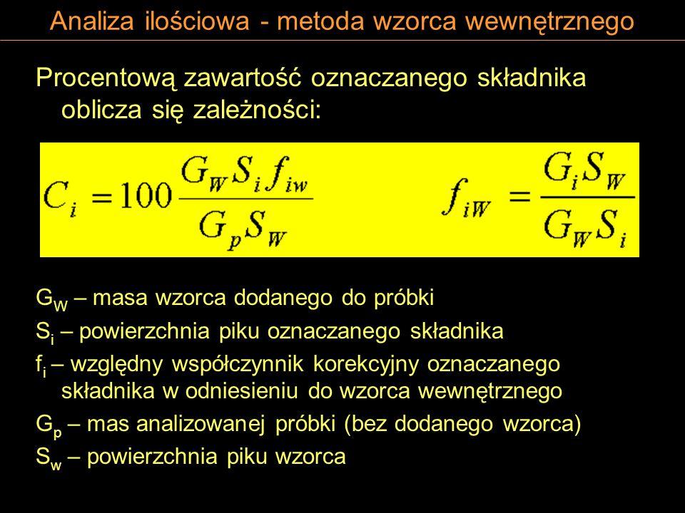 Analiza ilościowa - metoda wzorca wewnętrznego Procentową zawartość oznaczanego składnika oblicza się zależności: G W – masa wzorca dodanego do próbk
