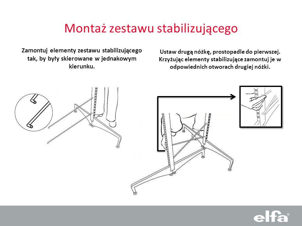 Montaż zestawu stabilizującego Zamontuj elementy zestawu stabilizującego tak, by były skierowane w jednakowym kierunku. Ustaw drugą nóżkę, prostopadle
