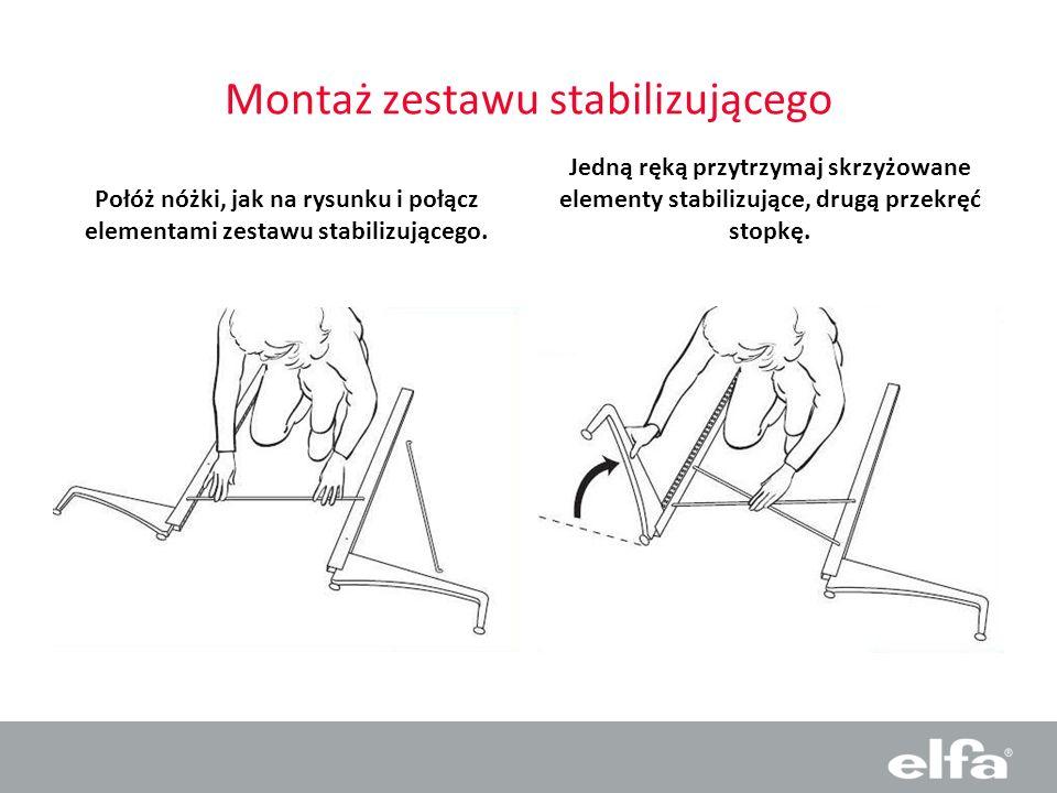Montaż zestawu stabilizującego Połóż nóżki, jak na rysunku i połącz elementami zestawu stabilizującego. Jedną ręką przytrzymaj skrzyżowane elementy st
