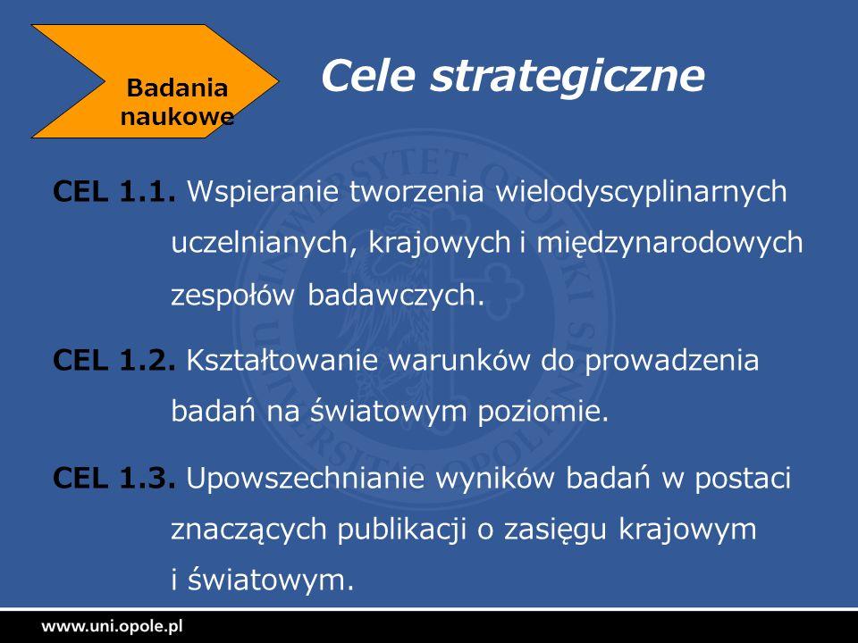 Cele strategiczne CEL 1.1. Wspieranie tworzenia wielodyscyplinarnych uczelnianych, krajowych i międzynarodowych zespołów badawczych. CEL 1.2. Kształto