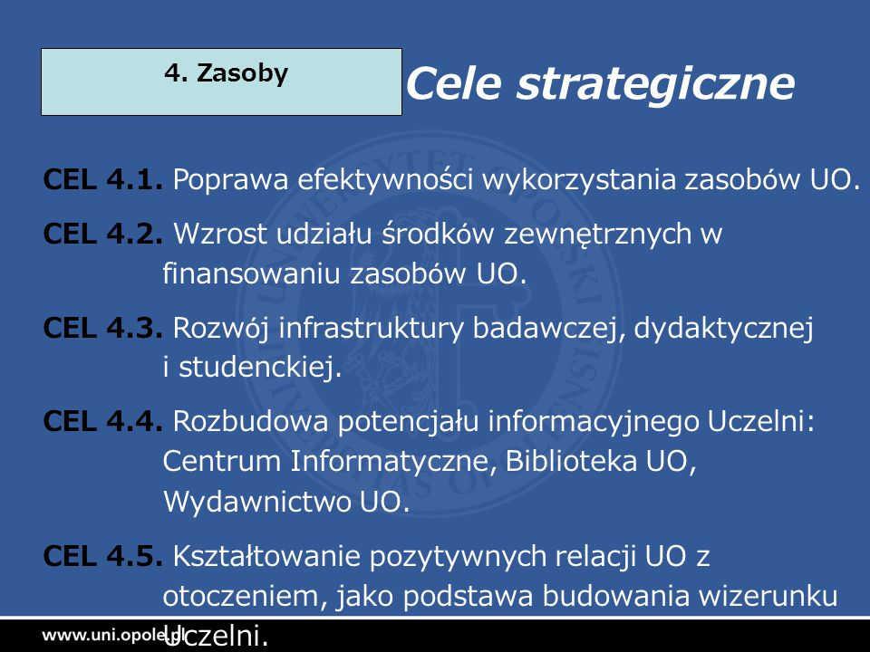 Cele strategiczne CEL 4.1. Poprawa efektywności wykorzystania zasobów UO. CEL 4.2. Wzrost udziału środków zewnętrznych w finansowaniu zasobów UO. CEL