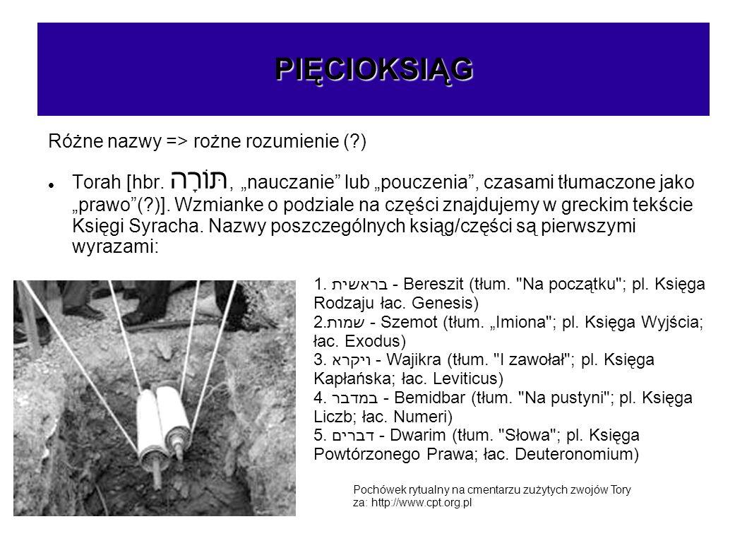 PIĘCIOKSIĄG Różne nazwy => rożne rozumienie (?) Torah [hbr. תּוֹרָה, nauczanie lub pouczenia, czasami tłumaczone jako prawo(?)]. Wzmianke o podziale n