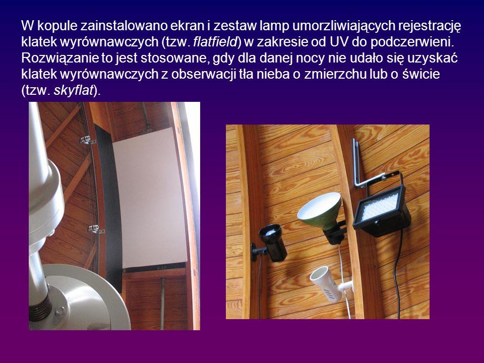 W kopule zainstalowano ekran i zestaw lamp umorzliwiających rejestrację klatek wyrównawczych (tzw.