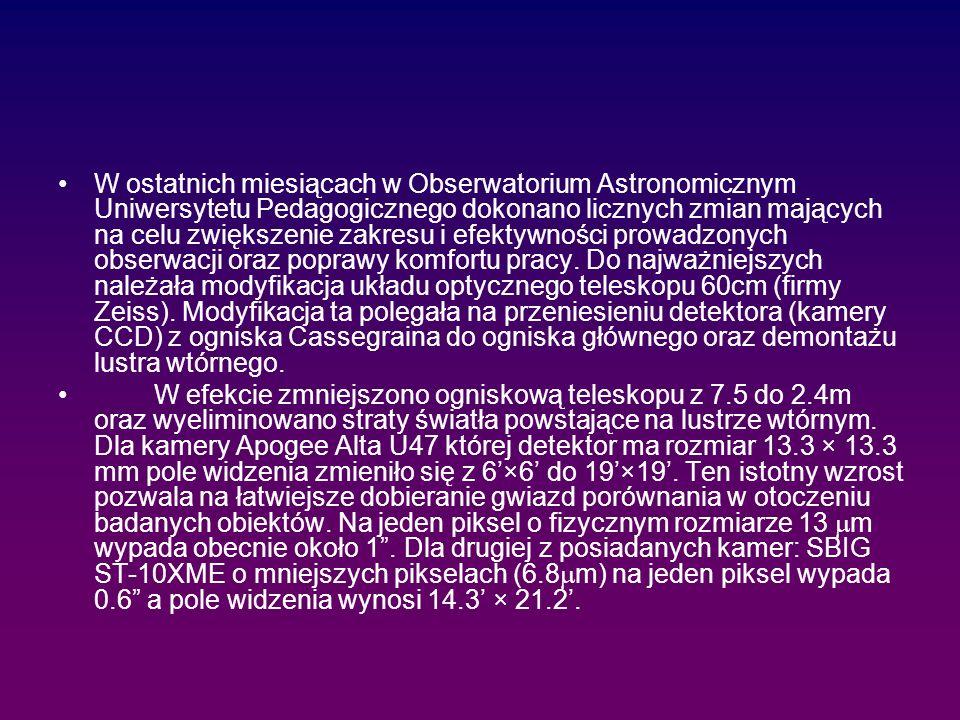 W ostatnich miesiącach w Obserwatorium Astronomicznym Uniwersytetu Pedagogicznego dokonano licznych zmian mających na celu zwiększenie zakresu i efektywności prowadzonych obserwacji oraz poprawy komfortu pracy.