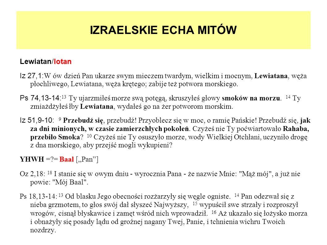 IZRAELSKIE ECHA MITÓW lotan Lewiatan/lotan Iz 27,1:W ów dzień Pan ukarze swym mieczem twardym, wielkim i mocnym, Lewiatana, węża płochliwego, Lewiatan