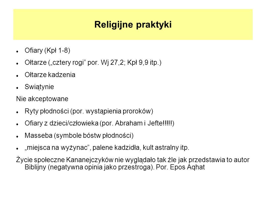 Religijne praktyki Ofiary (Kpł 1-8) Ołtarze (cztery rogi por. Wj 27,2; Kpł 9,9 itp.) Ołtarze kadzenia Swiątynie Nie akceptowane Ryty płodności (por. w