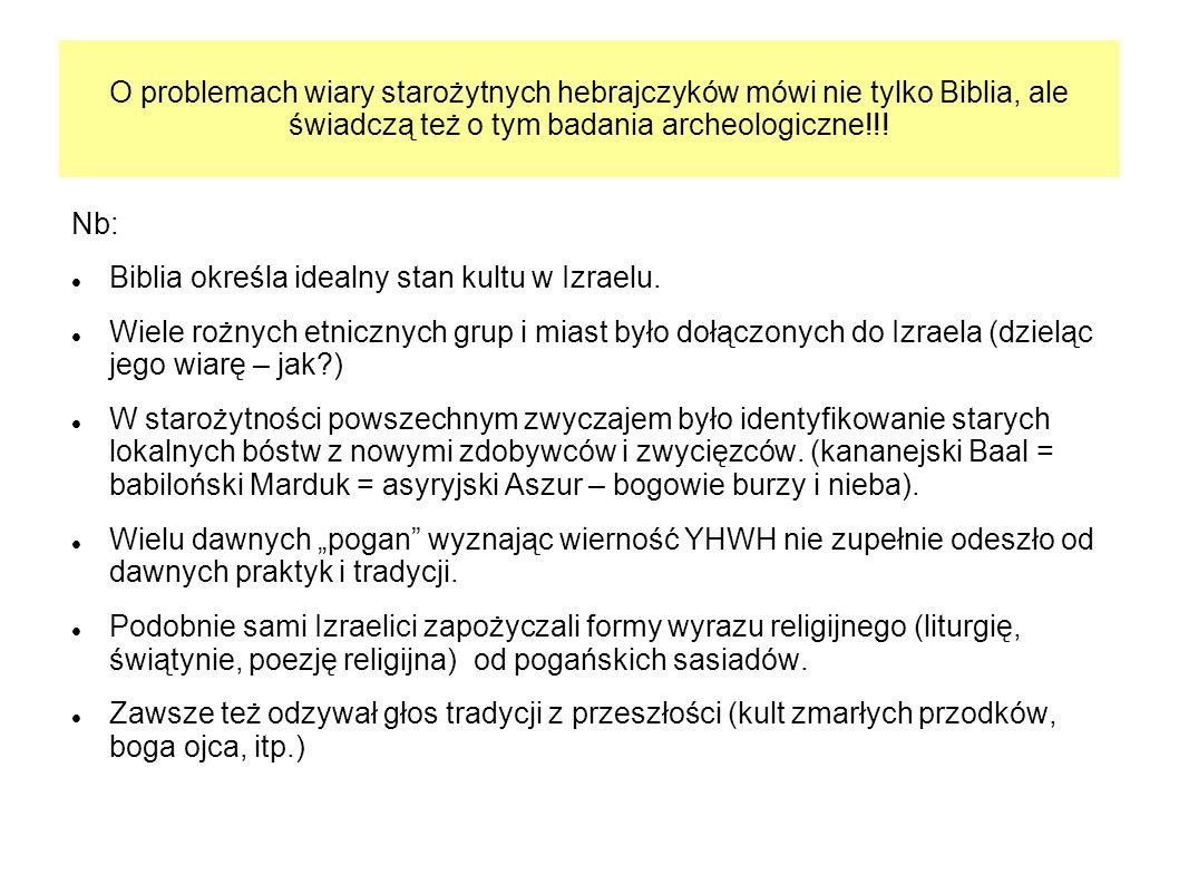 O problemach wiary starożytnych hebrajczyków mówi nie tylko Biblia, ale świadczą też o tym badania archeologiczne!!! Nb: Biblia określa idealny stan k