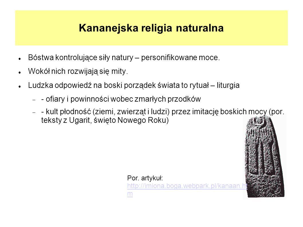 Por. artykuł: http://imiona.boga.webpark.pl/kanaan.ht m Kananejska religia naturalna Bóstwa kontrolujące siły natury – personifikowane moce. Wokół nic