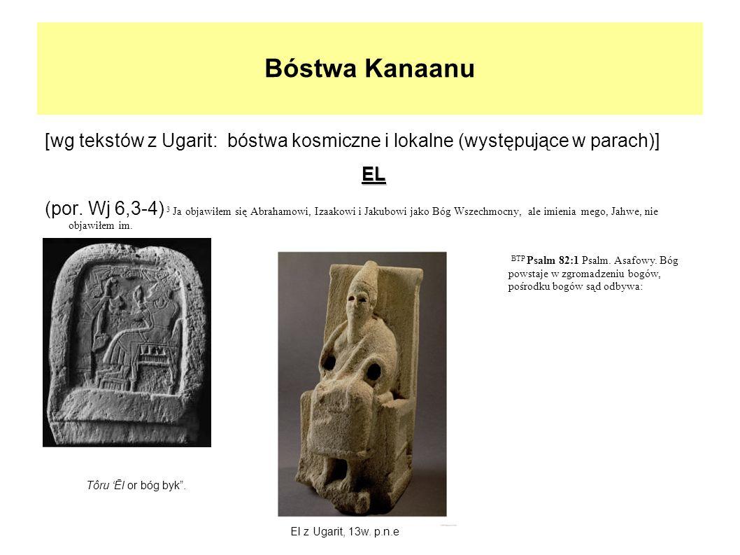 Bóstwa Kanaanu [wg tekstów z Ugarit: bóstwa kosmiczne i lokalne (występujące w parach)]EL (por. Wj 6,3-4) 3 Ja objawiłem się Abrahamowi, Izaakowi i Ja