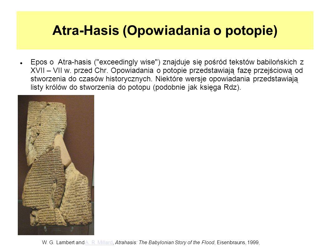 Atra-Hasis (Opowiadania o potopie) Epos o Atra-hasis (