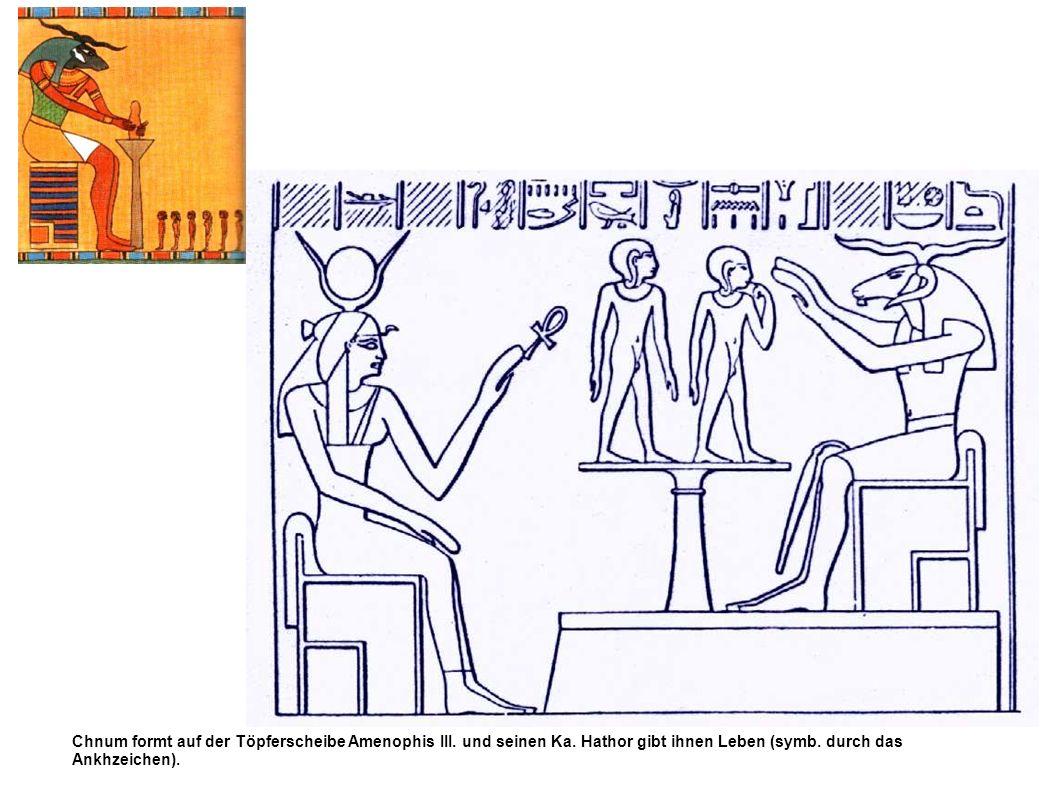 Chnum formt auf der Töpferscheibe Amenophis III. und seinen Ka. Hathor gibt ihnen Leben (symb. durch das Ankhzeichen).