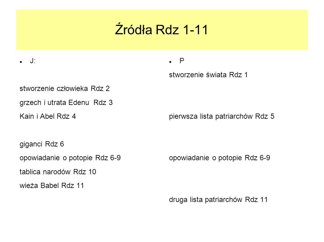 Źródła Rdz 1-11 J: stworzenie człowieka Rdz 2 grzech i utrata Edenu Rdz 3 Kain i Abel Rdz 4 giganci Rdz 6 opowiadanie o potopie Rdz 6-9 tablica narodó