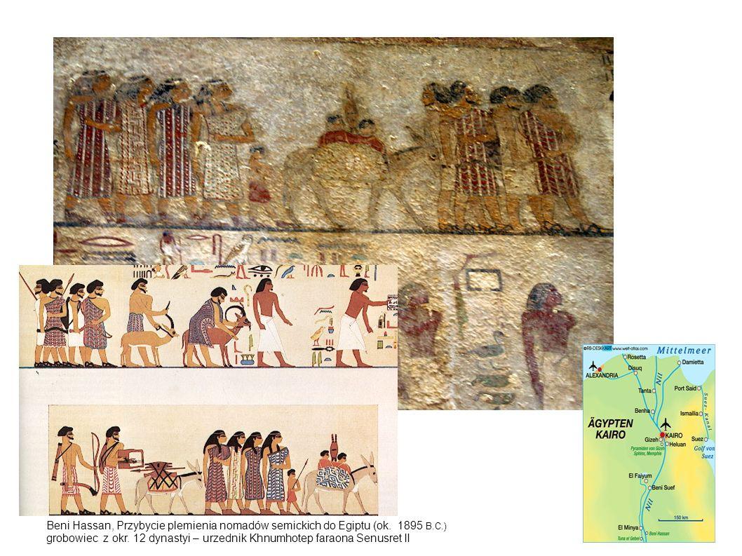 Beni Hassan, Przybycie plemienia nomadów semickich do Egiptu (ok. 1895 B.C.) grobowiec z okr. 12 dynastyi – urzednik Khnumhotep faraona Senusret II