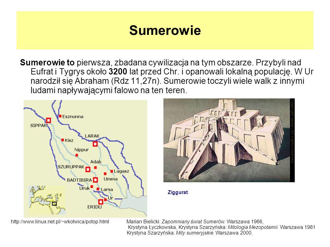 Sumerowie Sumerowie to pierwsza, zbadana cywilizacja na tym obszarze. Przybyli nad Eufrat i Tygrys około 3200 lat przed Chr. i opanowali lokalną popul