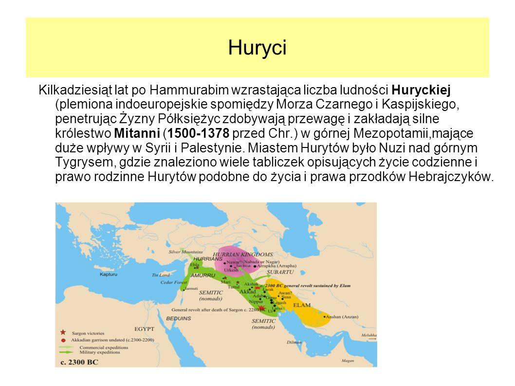 Huryci Kilkadziesiąt lat po Hammurabim wzrastająca liczba ludności Huryckiej (plemiona indoeuropejskie spomiędzy Morza Czarnego i Kaspijskiego, penetr