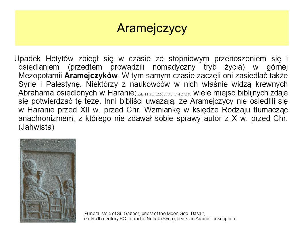 Aramejczycy Upadek Hetytów zbiegł się w czasie ze stopniowym przenoszeniem się i osiedlaniem (przedtem prowadzili nomadyczny tryb życia) w górnej Mezo