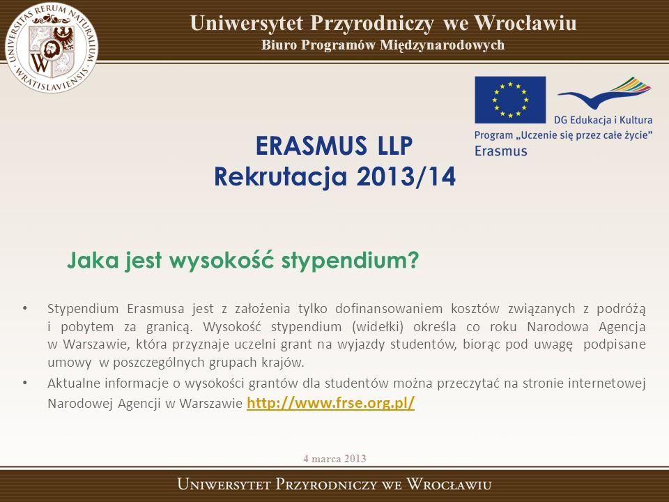 Stypendium Erasmusa jest z założenia tylko dofinansowaniem kosztów związanych z podróżą i pobytem za granicą. Wysokość stypendium (widełki) określa co