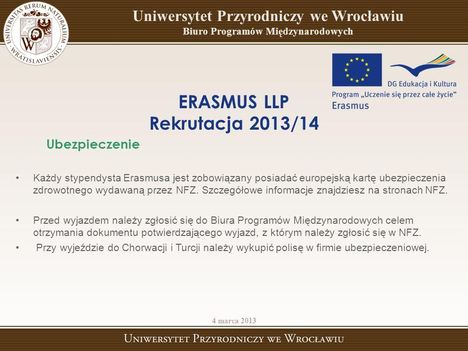 Każdy stypendysta Erasmusa jest zobowiązany posiadać europejską kartę ubezpieczenia zdrowotnego wydawaną przez NFZ. Szczegółowe informacje znajdziesz