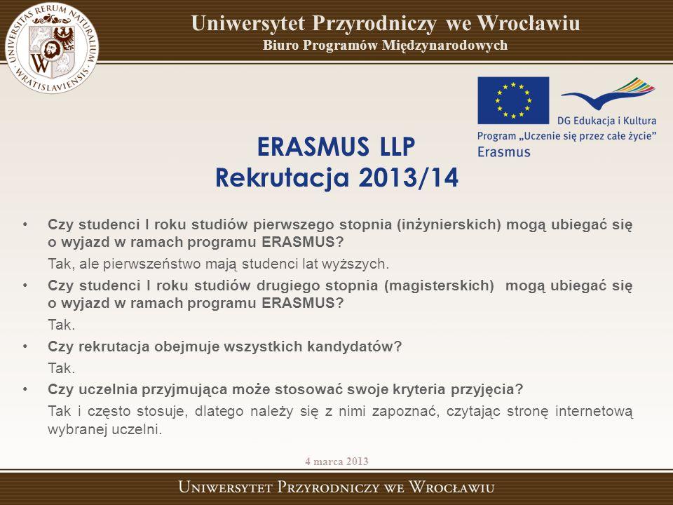 Czy studenci I roku studiów pierwszego stopnia (inżynierskich) mogą ubiegać się o wyjazd w ramach programu ERASMUS? Tak, ale pierwszeństwo mają studen