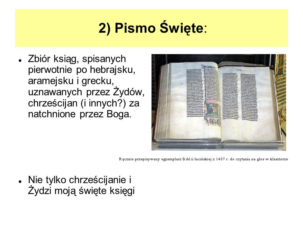 2) Pismo Święte: Zbiór ksiąg, spisanych pierwotnie po hebrajsku, aramejsku i grecku, uznawanych przez Żydów, chrześcijan (i innych?) za natchnione prz