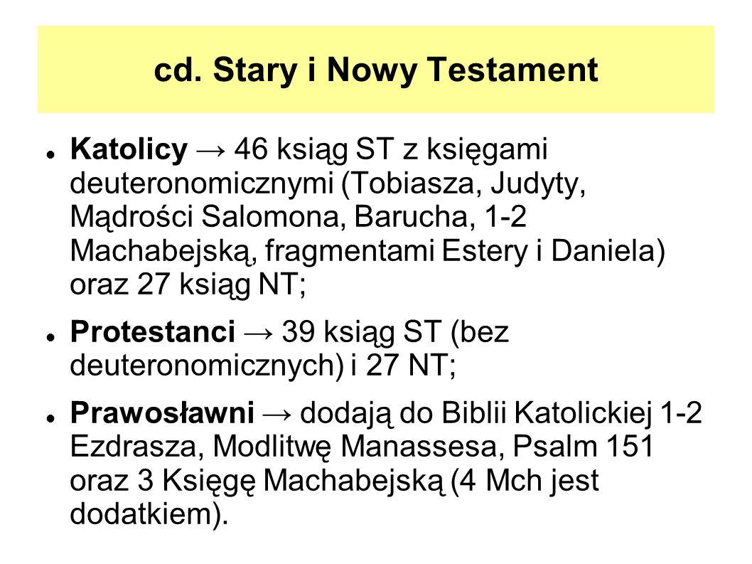 cd. Stary i Nowy Testament Katolicy 46 ksiąg ST z księgami deuteronomicznymi (Tobiasza, Judyty, Mądrości Salomona, Barucha, 1-2 Machabejską, fragmenta