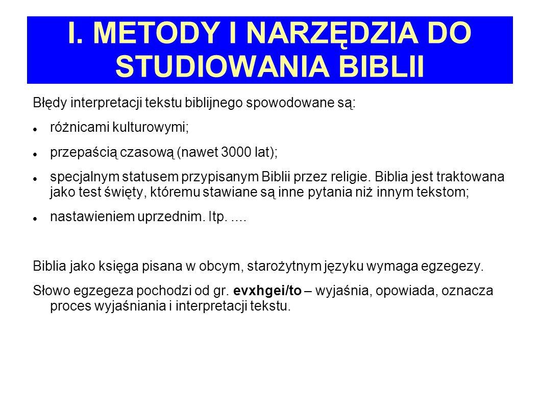 I. METODY I NARZĘDZIA DO STUDIOWANIA BIBLII Błędy interpretacji tekstu biblijnego spowodowane są: różnicami kulturowymi; przepaścią czasową (nawet 300