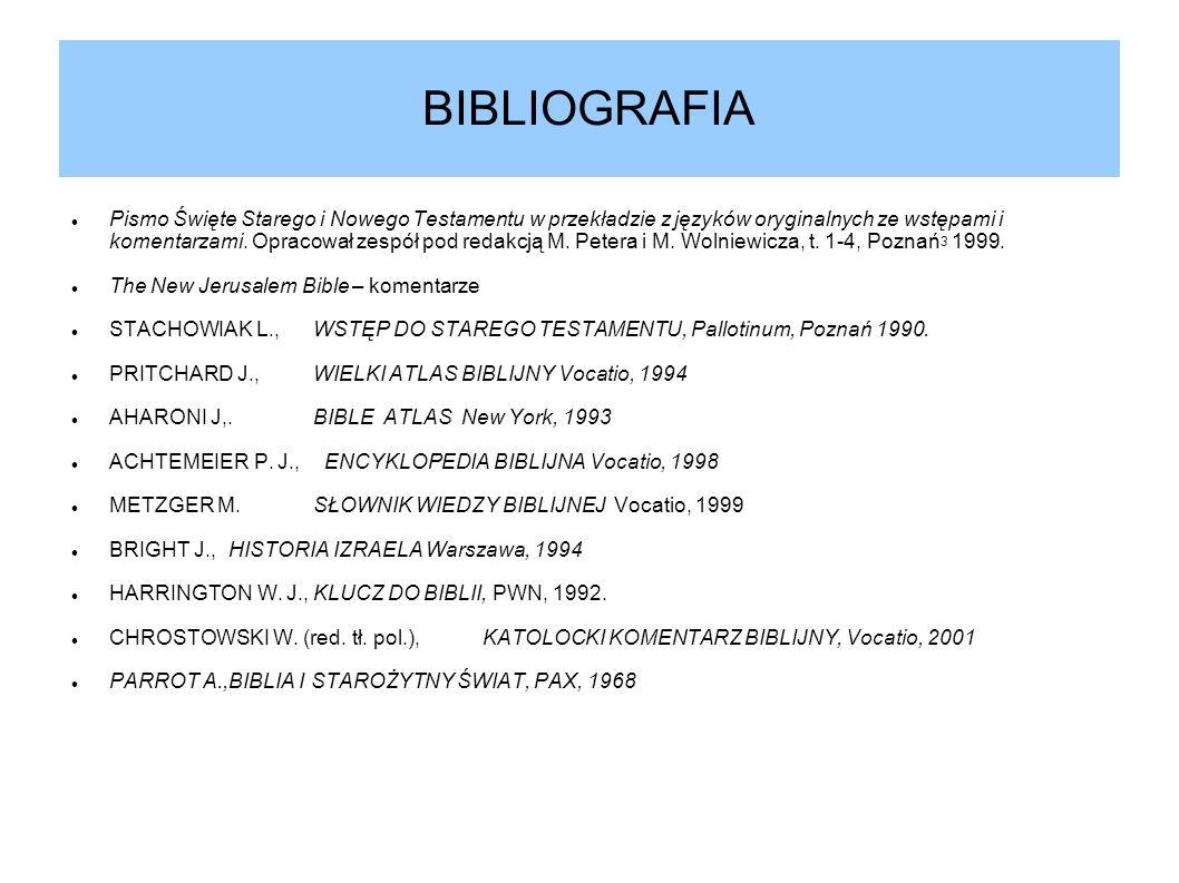 BIBLIOGRAFIA Pismo Święte Starego i Nowego Testamentu w przekładzie z języków oryginalnych ze wstępami i komentarzami. Opracował zespół pod redakcją M