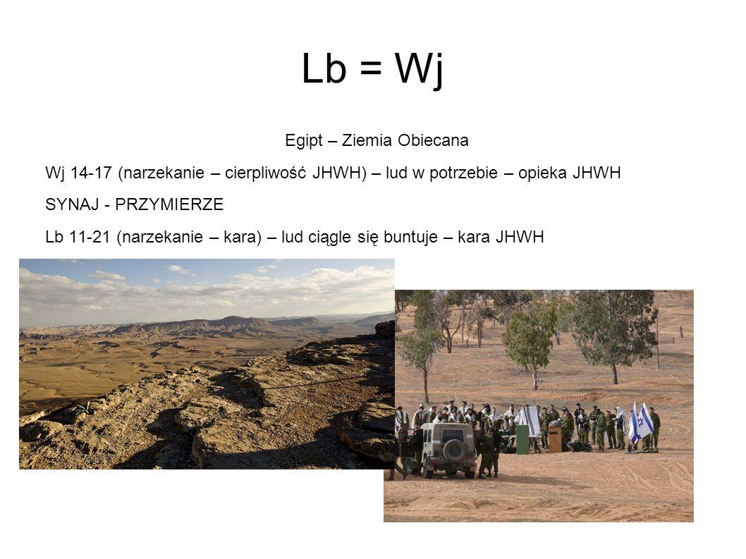 Lb = Wj Egipt – Ziemia Obiecana Wj 14-17 (narzekanie – cierpliwość JHWH) – lud w potrzebie – opieka JHWH SYNAJ - PRZYMIERZE Lb 11-21 (narzekanie – kar