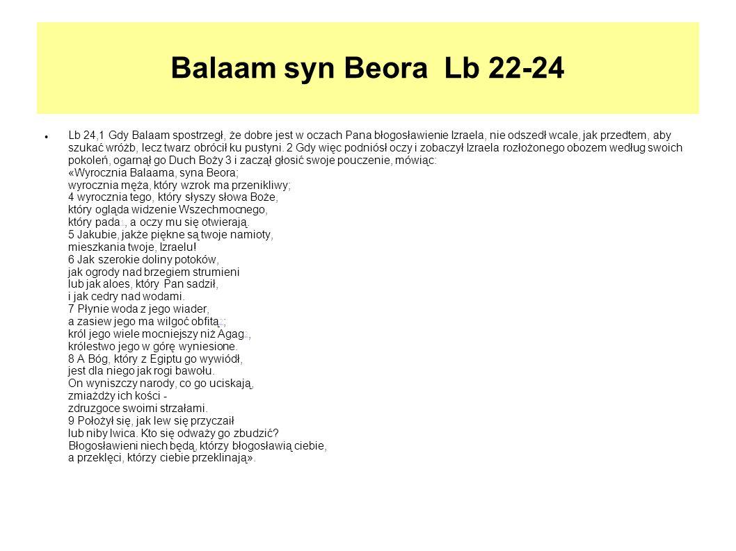 Balaam syn Beora Lb 22-24 Lb 24,1 Gdy Balaam spostrzegł, że dobre jest w oczach Pana błogosławienie Izraela, nie odszedł wcale, jak przedtem, aby szuk