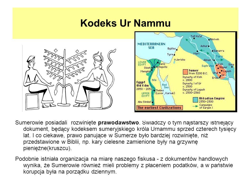 Kodeks Ur Nammu Sumerowie posiadali rozwinięte prawodawstwo. Świadczy o tym najstarszy istniejący dokument, będący kodeksem sumeryjskiego króla Urnamm