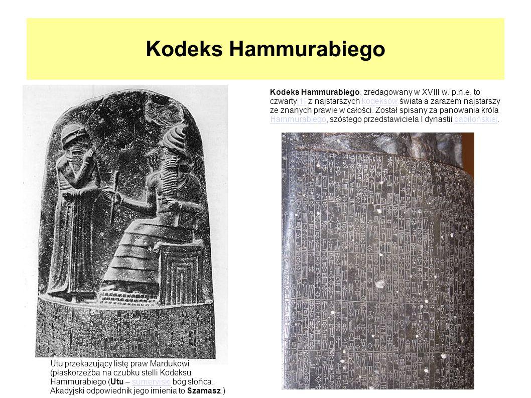 Kodeks Hammurabiego Utu przekazujący listę praw Mardukowi (płaskorzeźba na czubku stelli Kodeksu Hammurabiego (Utu – sumeryjski bóg słońca. Akadyjski