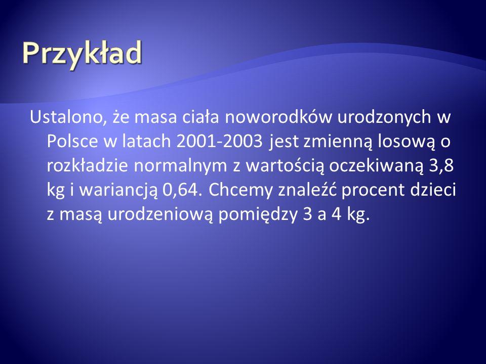 Ustalono, że masa ciała noworodków urodzonych w Polsce w latach 2001-2003 jest zmienną losową o rozkładzie normalnym z wartością oczekiwaną 3,8 kg i w