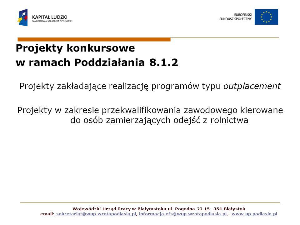 Projekty konkursowe w ramach Poddziałania 8.1.2 Projekty zakładające realizację programów typu outplacement Projekty w zakresie przekwalifikowania zaw