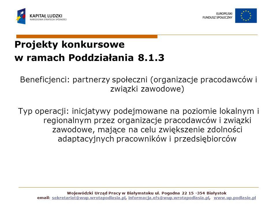 Projekty konkursowe w ramach Poddziałania 8.1.3 Beneficjenci: partnerzy społeczni (organizacje pracodawców i związki zawodowe) Typ operacji: inicjatyw