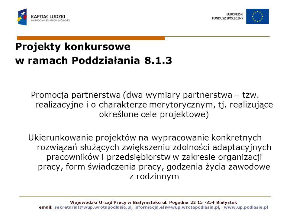 Projekty konkursowe w ramach Poddziałania 8.1.3 Promocja partnerstwa (dwa wymiary partnerstwa – tzw. realizacyjne i o charakterze merytorycznym, tj. r
