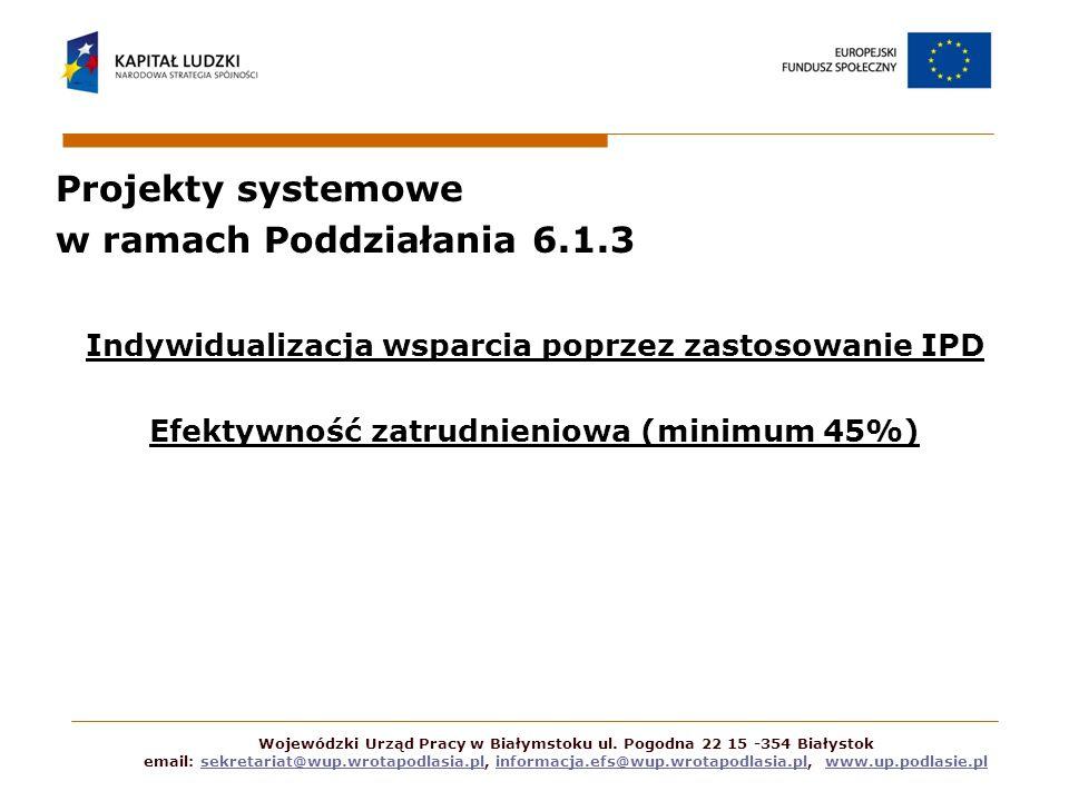 Projekty systemowe w ramach Poddziałania 6.1.3 Indywidualizacja wsparcia poprzez zastosowanie IPD Efektywność zatrudnieniowa (minimum 45%) Wojewódzki