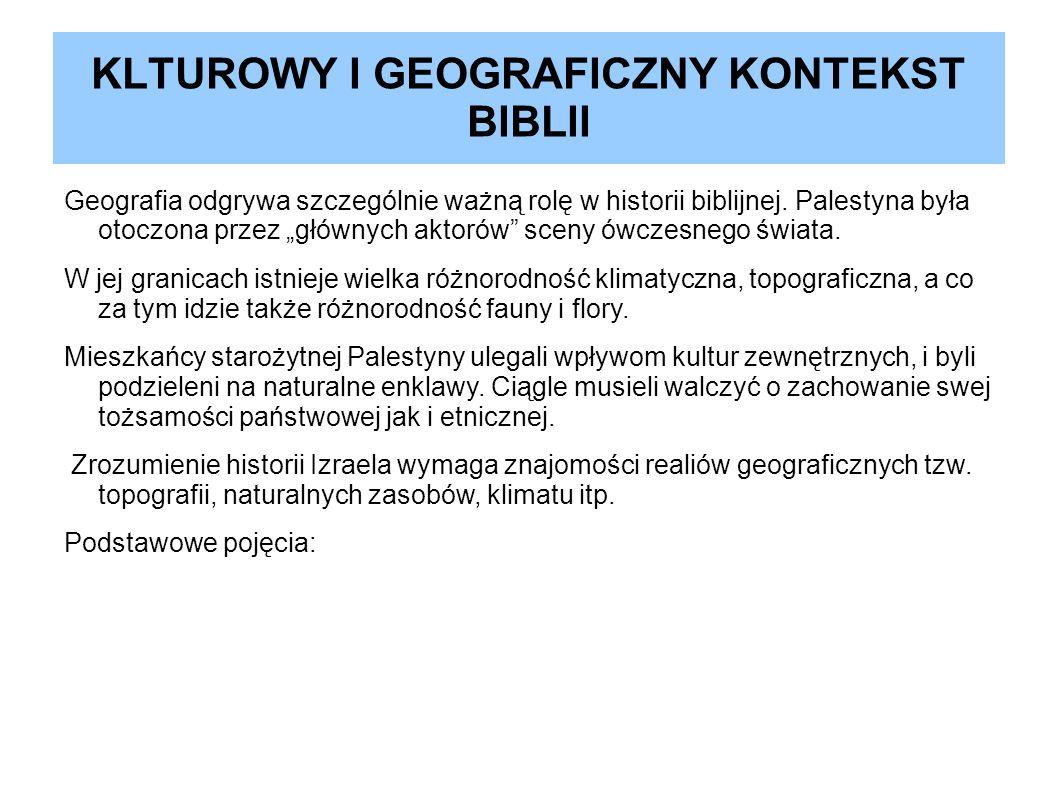 KLTUROWY I GEOGRAFICZNY KONTEKST BIBLII Geografia odgrywa szczególnie ważną rolę w historii biblijnej. Palestyna była otoczona przez głównych aktorów