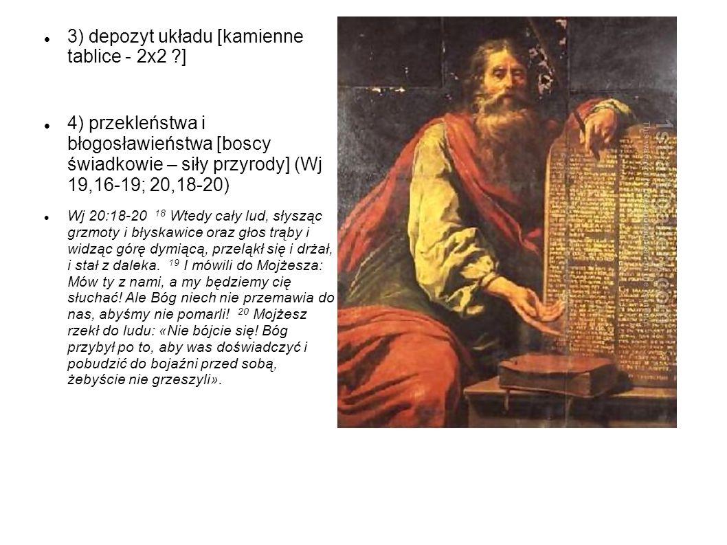 3) depozyt układu [kamienne tablice - 2x2 ?] 4) przekleństwa i błogosławieństwa [boscy świadkowie – siły przyrody] (Wj 19,16-19; 20,18-20) Wj 20:18-20
