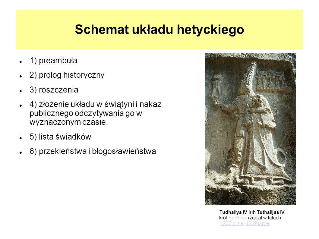 Schemat układu hetyckiego 1) preambuła 2) prolog historyczny 3) roszczenia 4) złożenie układu w świątyni i nakaz publicznego odczytywania go w wyznacz