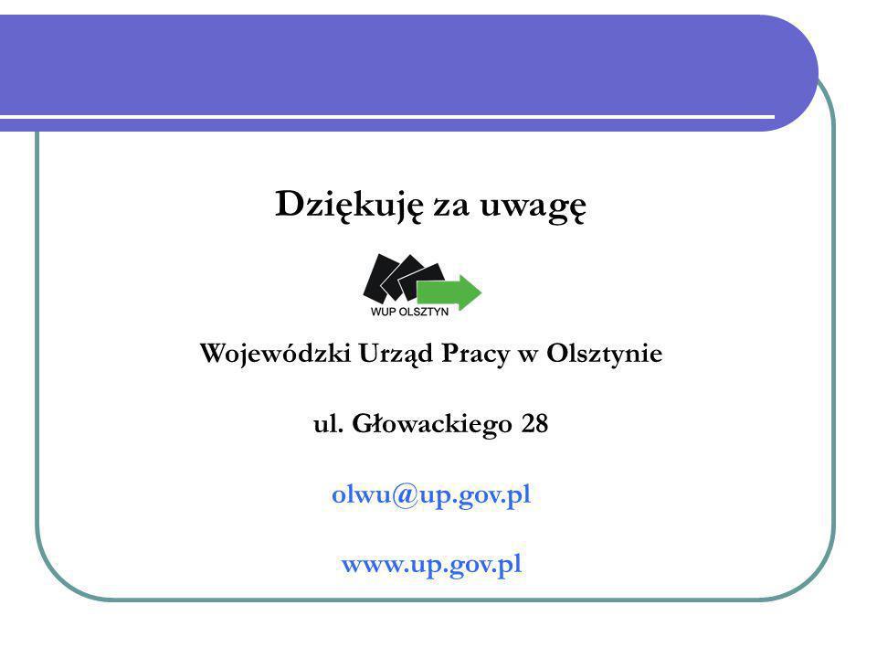 Dziękuję za uwagę Wojewódzki Urząd Pracy w Olsztynie ul. Głowackiego 28 olwu@up.gov.pl www.up.gov.pl
