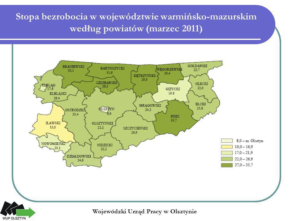 Stopa bezrobocia w województwie warmińsko-mazurskim według powiatów (marzec 2011) Wojewódzki Urząd Pracy w Olsztynie