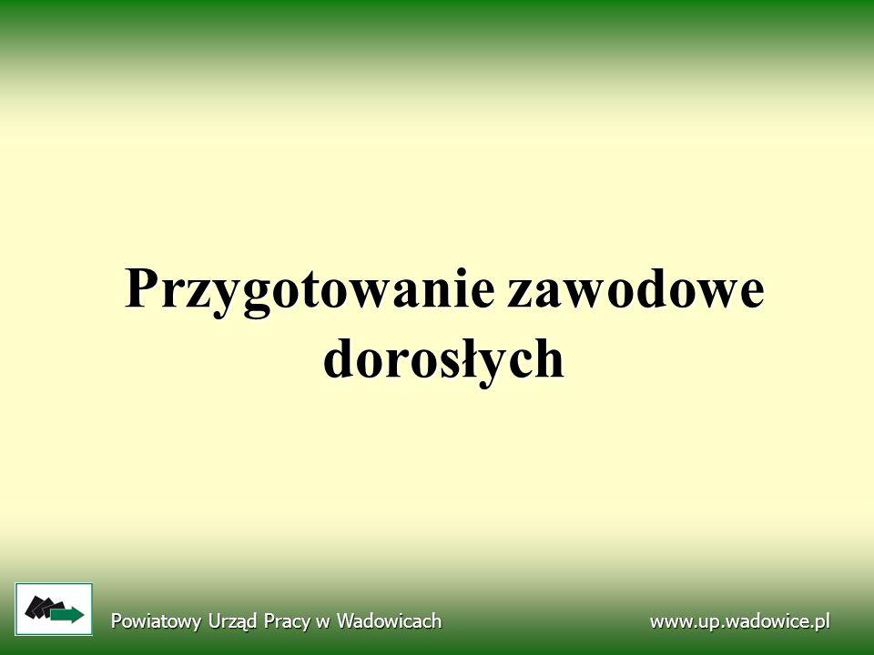 Przygotowanie zawodowe dorosłych www.up.wadowice.pl Powiatowy Urząd Pracy w Wadowicach
