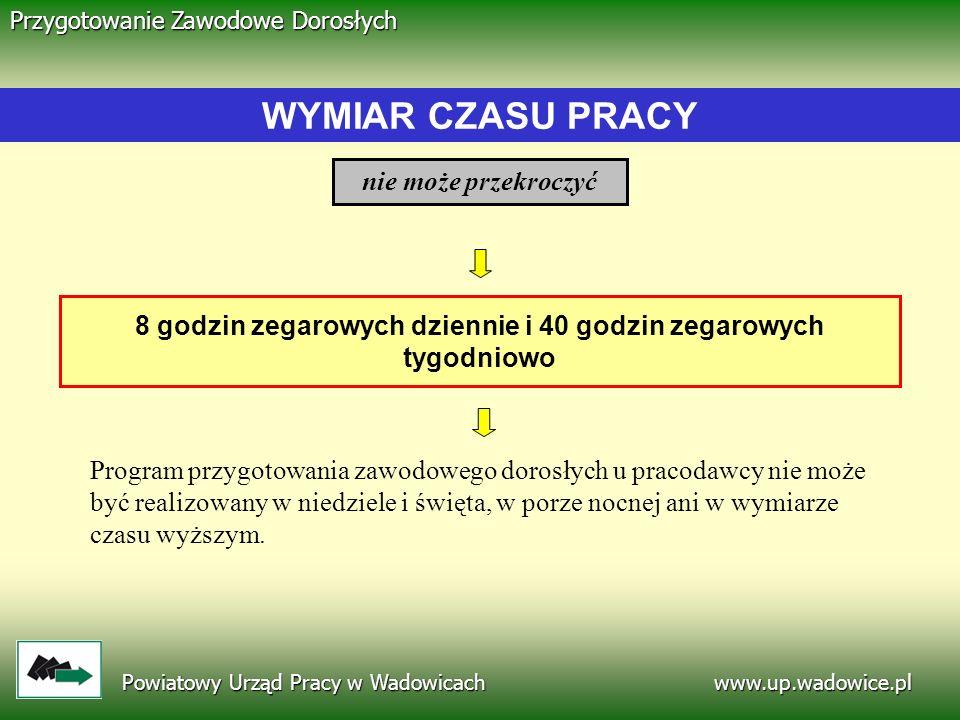 www.up.wadowice.pl Powiatowy Urząd Pracy w Wadowicach Przygotowanie Zawodowe Dorosłych 8 godzin zegarowych dziennie i 40 godzin zegarowych tygodniowo