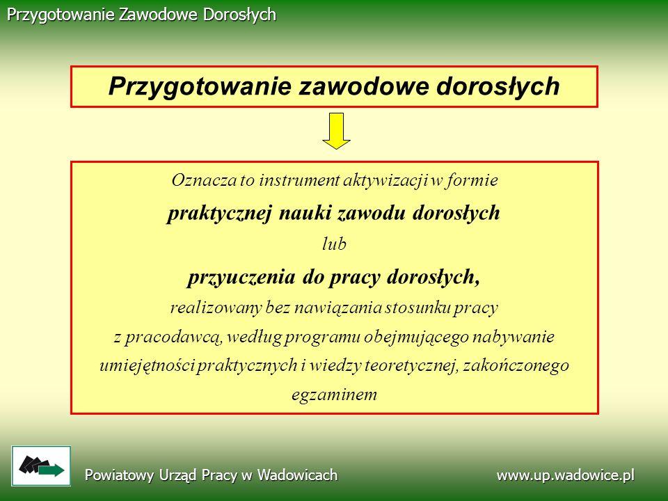 www.up.wadowice.pl Przygotowanie Zawodowe Dorosłych Oznacza to instrument aktywizacji w formie praktycznej nauki zawodu dorosłych lub przyuczenia do p