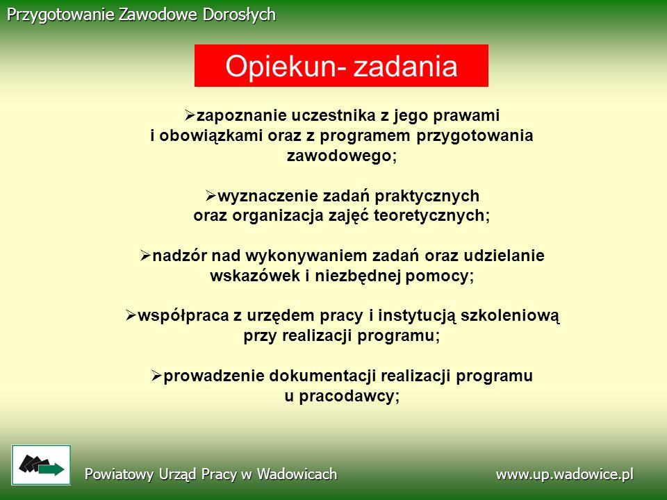 www.up.wadowice.pl Powiatowy Urząd Pracy w Wadowicach Przygotowanie Zawodowe Dorosłych zapoznanie uczestnika z jego prawami i obowiązkami oraz z progr
