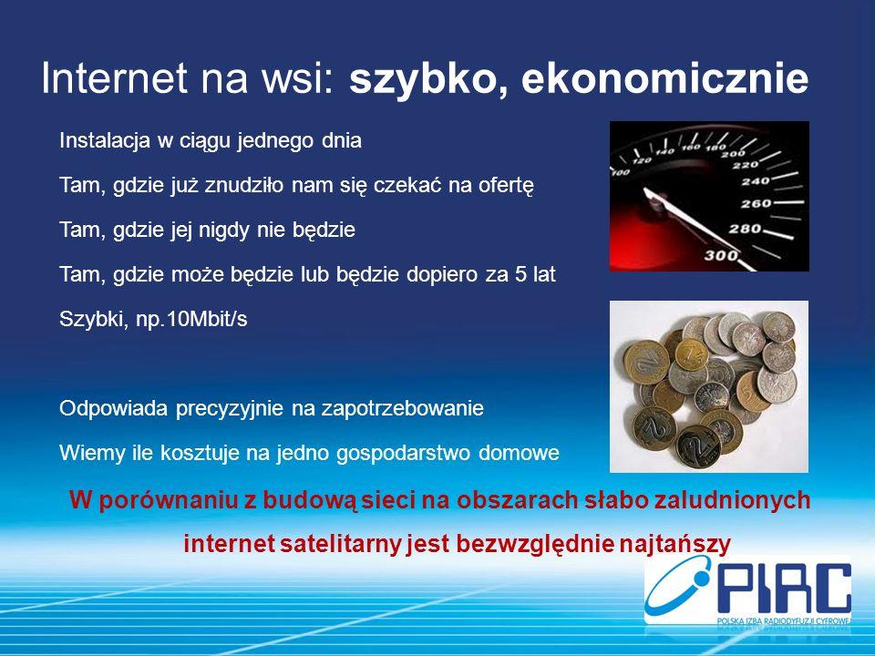 Internet na wsi: szybko, ekonomicznie Instalacja w ciągu jednego dnia Tam, gdzie już znudziło nam się czekać na ofertę Tam, gdzie jej nigdy nie będzie Tam, gdzie może będzie lub będzie dopiero za 5 lat Szybki, np.10Mbit/s Odpowiada precyzyjnie na zapotrzebowanie Wiemy ile kosztuje na jedno gospodarstwo domowe W porównaniu z budową sieci na obszarach słabo zaludnionych internet satelitarny jest bezwzględnie najtańszy