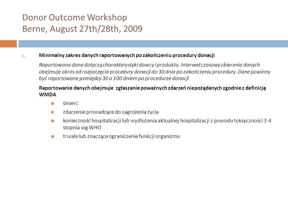 Donor Outcome Workshop Berne, August 27th/28th, 2009 A. Minimalny zakres danych raportowanych po zakończeniu procedury donacji Raportowane dane dotycz