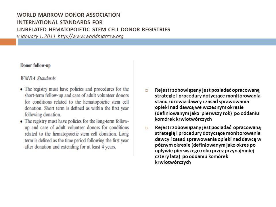 WORLD MARROW DONOR ASSOCIATION INTERNATIONAL STANDARDS FOR UNRELATED HEMATOPOIETIC STEM CELL DONOR REGISTRIES v January 1, 2011 http://www.worldmarrow