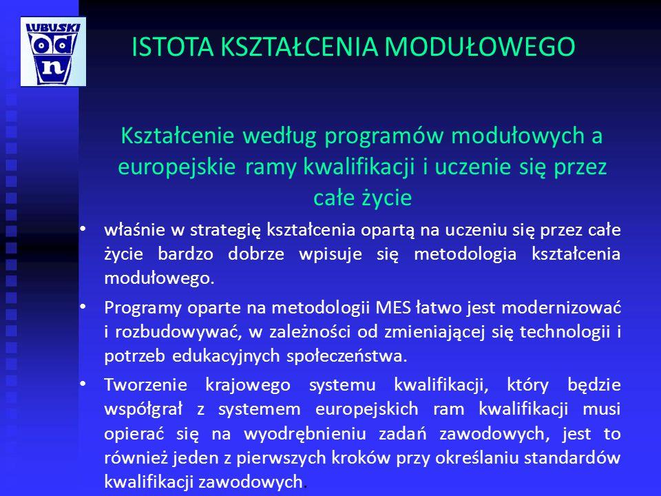 ISTOTA KSZTAŁCENIA MODUŁOWEGO Kształcenie według programów modułowych a europejskie ramy kwalifikacji i uczenie się przez całe życie właśnie w strateg
